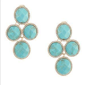 Ann Klein Oval Stone Chandelier Clip Earring